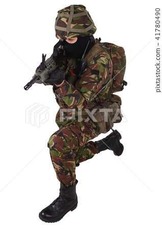 British Army Soldier with assault rifle - Stock Photo