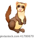 Funny ferret toy isolated on white background. Vector cartoon close-up illustration. 41780670