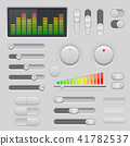Gray interface buttons and sliders. 3d set of UI icons 41782537