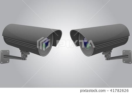 CCTV camera set. Black security surveillance system on gray background 41782626