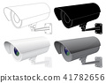 Security CCTV camera. Outline drawing, black silhouette and 3d model 41782656