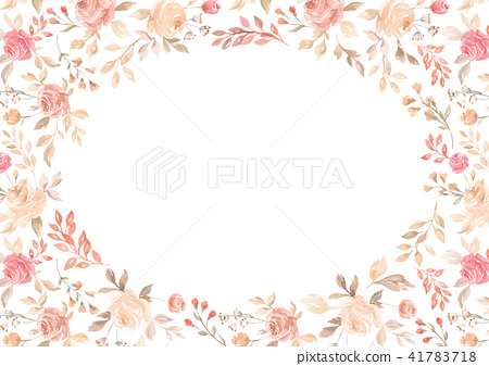 Watercolor pink flower border paper background 41783718