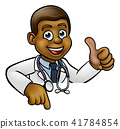 Doctor Cartoon Character Thumbs Up Pointing Down 41784854