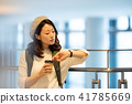 공항 여행 여성 촬영 협조 : 나리타 공항 41785669