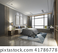luxury modern bedroom suite in hotel with wardrobe 41786778
