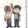 Wrestling wrestler illustration material 41787157