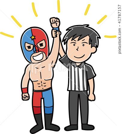 搏鬥的摔跤手例證材料 41787157