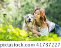 젊은여자, 개, 강아지, 애완동물, 골든 리트리버 41787227