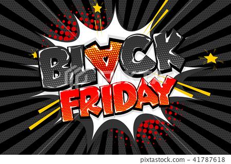 Black friday sale tag comic text speech bubble 41787618