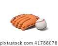 3d rendering of a white baseball with red stitching lying near an orange leather mitt on a white 41788076