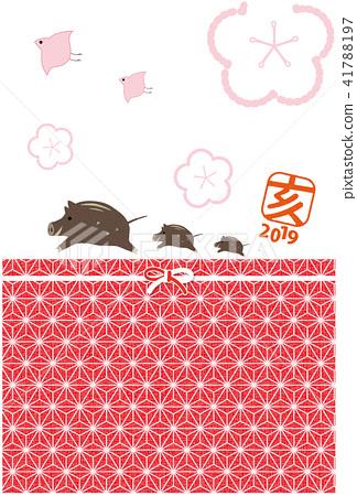 2019年新年賀卡日式絲帶印章垂直 41788197