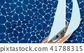 Top view sail boat on water 41788315