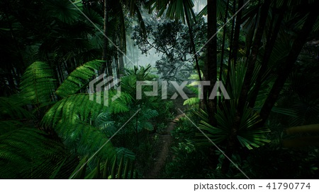 Timelapse view over a beautiful lush green jungle. 3D rendering. 41790774