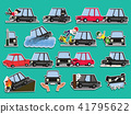Car of accident on the road. Funny cute flat  41795622