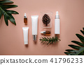cosmetic skincare nature background flat lay. herb 41796233