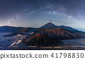 Mount Bromo volcanic at night with starry sky 41798830