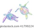 바다 거북의 수채화 일러스트 41799224