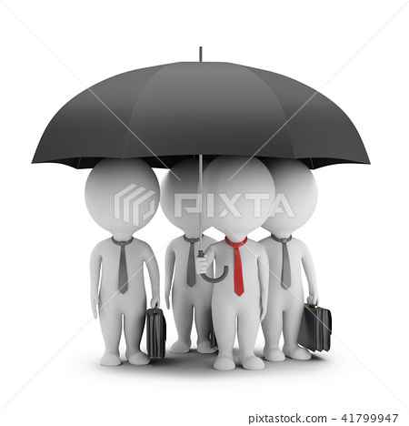 3d small people - manager with an umbrella 41799947
