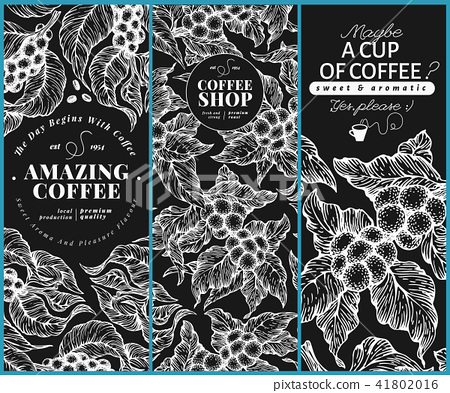 Coffee tree banner templates. Vector illustration on chalk board. Vintage coffee banners set. Hand 41802016