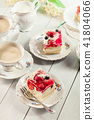 Cheesecake with strawberries, blueberry and jelly 41804066