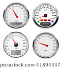 Speedometers and tachometers. Car dashboard gauges with chrome frame 41804347