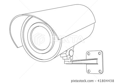 CCTV camera. Outline vector illustration isolated on white background 41804438