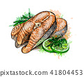 fish, salmon, vector 41804453