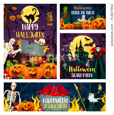 Halloween banner of horror party invitation design - Stock ...