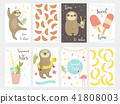 Sloth collection. Set of summer cards 41808003