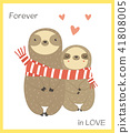 Two funny sloth in love wrapping in scarf. 41808005