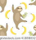 Tropical seamless pattern with dancing sloths 41808032