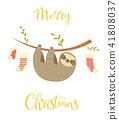 Sloth hanging on the tree. Christmas greeting card 41808037