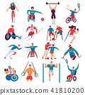 Disabled People Sport Flat Set 41810200