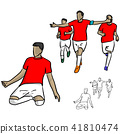 male soccer player in red jersey shirt celebrating 41810474
