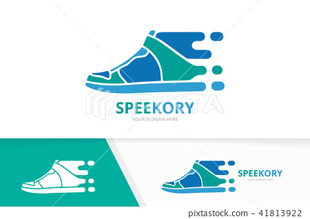 Vector fast sneaker logo combination. Speed shoe symbol or icon. Unique footwear and quick logotype 41813922