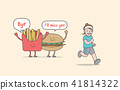 Running for weight loss (junk food & woman) vector 41814322