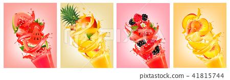 Fruit in juice splashes. Strawberry, guava 41815744