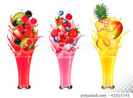 Fruit in juice splashes. Strawberry, 41815745