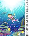 潜水珊瑚礁海的妇女佩带五颜六色的鱼游泳 41815921