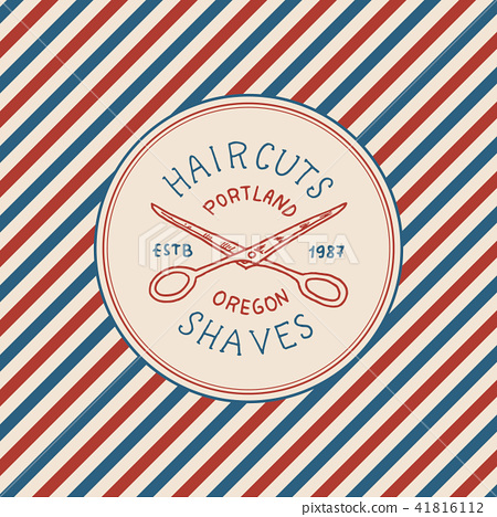 Barbershop badge label logo. Pole emblem. Scissors for signboard Haircut of beard and mustache 41816112