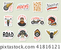 Biker club stickers templates. Vintage custom Motorcycle and skull emblems, labels badges for t 41816121
