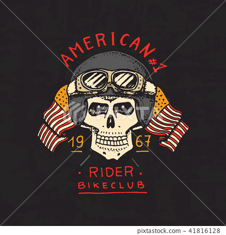 1f43cfb0 Vintage custom skulls emblem, label badge for t shirt. Motorcycles and biker  club template