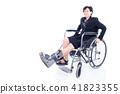 Asian woman with leg brace sitting on wheelchair  41823355