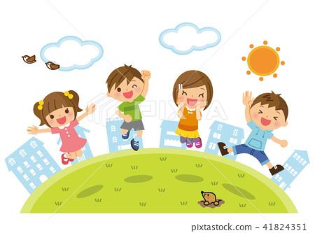 외부에서 점프하는 아이들 41824351