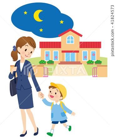 與母親的托兒所兒童的夜晚 41824573