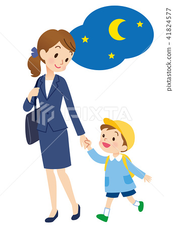 與母親的托兒所兒童的夜晚 41824577