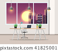 Office with work desk and window Night City 41825001
