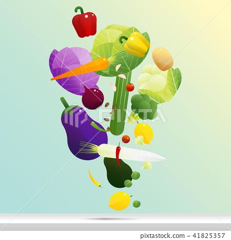 Flying fresh vegetables concept 41825357
