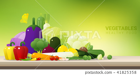 Fresh vegetables on wooden table 41825358