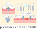 cute cartoon tooth implant 41829408
